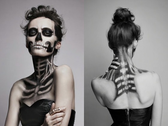 Halloween skeleton face makeup
